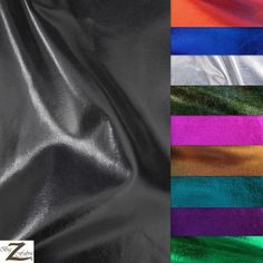 METALLIC FOIL SPANDEX FABRIC -13 Colors - 4 WAY STRETCH LYCRA 58 /60  WIDTH