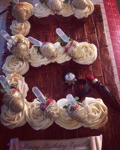 With patron shot strawberries Truck Birthday Cakes, Girl Birthday, Birthday Ideas, Monogram Cupcakes, Cake Lettering, Pull Apart Cupcake Cake, Cupcake Images, Cupcake Bakery, Strawberry Cupcakes