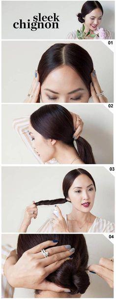 How To: Sleek Chignon Bun in 4 easy steps