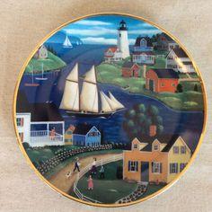 Summer Holiday Plate Steven Klein American Folk Art Col Porcelain LE Lighthouse