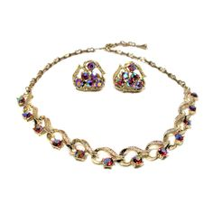 Red Pink Aurora Borealis Rhinestone Necklace and Earrings Vintage Jewelry Set - Free US shipping by MorningGlorious on Etsy
