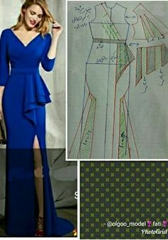 Best 10 ENG➡️to draft the pattern of this dress, start from a basic block with darts dart manipulation of the front bodic – SkillOfKing.Com - Her Crochet Fashion Sewing, Diy Fashion, Ideias Fashion, Fashion Dresses, Sewing Clothes, Diy Clothes, Mermaid Dress Pattern, Costura Fashion, Dress Making Patterns