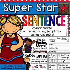 "Check out my WRITING BUNDLE and save big!!WRITING BUNDLEHelp your students become ""SUPER STAR"" sentence writers with this fun filled pack! This pack includes anchor charts, rubrics, writing templates, and games for your K, 1st, or 2nd grade students! Included are the following: -Super Star Sentence Anchor Chart: The pieces to make the anchor chart are included."