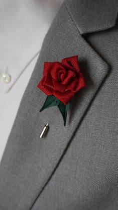 Mother of Pearl Lapel Pin Boutonniere Tuxedo Wedding Ribbon Rose Flower Hijab