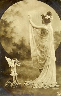 The Moon Goddess ~ Early 1900s postcard by Reutlinger