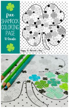 "Enjoy this free downloadable Full of Shamrocks Coloring Page this St. Patrick's Day! Simply Print, Color, and display in a frame if you'd like! The kids will love this, too! ""Full of Shamrocks"" Color"