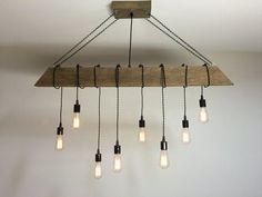 Reclaimed Barn Timber Beam Light Fixture with Hanging Edison Bulbs #Rustic #Modern #Industrial Lighting for Bar/Restaurant/Home 0015 Rustic Lighting, Kitchen Lighting, Chandelier Lighting, Farmhouse Lighting, Cabin Lighting, Edison Lighting, Hallway Lighting, Industrial Lighting, Bar Lighting