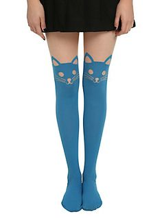 LOVEsick Turquoise Cat Faux Thigh High Tights, TURQUOISE