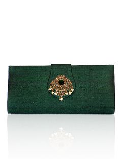 Embellished raw silk clutch from the bridal line Green Bag, Malaga, Emerald Green, Clutch Bag, Clutches, Classic Style, Purses And Bags, Brooch, Indian