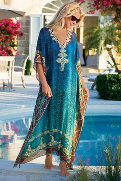 Cote D'azur Caftan - Turquoise Caftan, Chiffon V-neck Caftan | Soft Surroundings