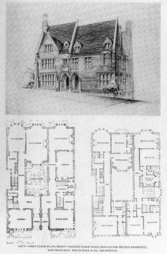 Polk's design for a double residence, San Francisco