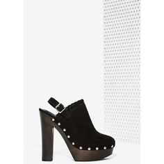 Nasty Gal Stomping Ground Platform Clog (240 RON) ❤ liked on Polyvore featuring shoes, clogs, heels, black, black clogs, black high heel shoes, platform clogs, nasty gal and studded shoes