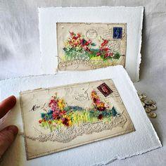 Two vintage envelope,  garden themed artworks, just popped into my Big Cartel shop. Happy weekend 🌼☀️🐝 Link in profile. Big Cartel Shops, Textiles, Love Garden, Linked In Profile, Happy Weekend, Embroidery Art, Textile Art, Fiber Art, Fun Crafts