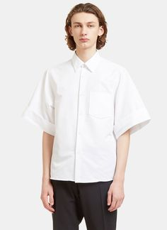 ACNE STUDIOS Men'S Birch Lux Oversized Short Sleeved Shirt In White. #acnestudios #cloth #