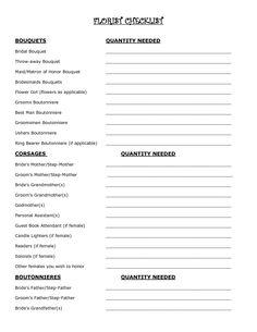Wedding Flowers: flower checklist for wedding   planners etc ...