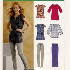 New Look 0140, An Elastic Waist Slim Pants and Buttoned V-Neck Top with Sleeve Variations Pattern by So Sew Some!