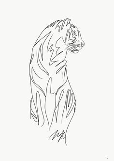 art tiger one line drawing, graphic design, tattoo i. - art tiger one line drawing, graphic design, tattoo idea - Line Drawing Tattoos, One Line Tattoo, Line Tattoos, Tattoo Drawings, Body Art Tattoos, Feather Tattoos, Tiger Sketch, Tiger Drawing, Tiger Art