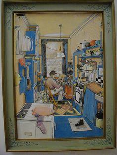 "William Kurelek (Canadian, b. 1927 - "" The Bachelor "" I love this painting. So Catholic, so cute! Canadian Painters, Canadian Artists, Type Illustration, Illustrations, William Kurelek, Libra, Art Gallery Of Ontario, Art Images, Les Oeuvres"