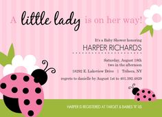 Pink And Green Lady Bug Girl Baby Shower Invitations by PurpleTrail.com