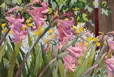Dragonflies Amongst the Pink Ladies, 1990, art by Carolyn Lord – California Watercolor