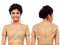 Divergent net choli in beige color with zari, kundan work. Item Code : BKDUP5 http://www.bharatplaza.com/accessories/designer-cholis.html