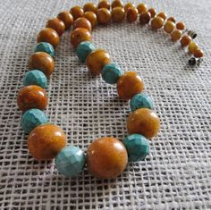 Wood beaded necklace Large turquoise Statement beaded jewelry Unique handmade jewelry Fashion necklace Jewelry gift for her Everyday wear