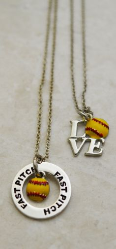 These two necklaces are the perfect softball gifts for pitchers! Featuring the Fast Pitch Message Ring with Enamel Softball Necklace and Love Softball Charm!