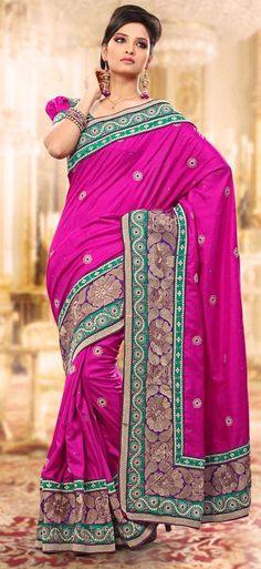 $81.96 Pink Thread Work Manipuri Silk Saree 24305