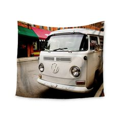 """Angie Turner """"VW Bus"""" White Vintage Wall Tapestry"""