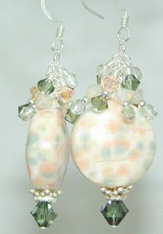 JBB Peach SHERBET Button HANDMADE Lampwork EARRINGS