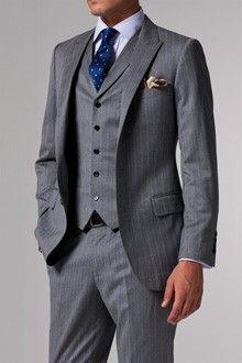 Vincero Light Gray Herringbone Three-Piece Suit | Indochino
