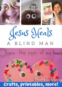 Jesus Heals A Blind Man- Crafts And Activities For Kids Toddler Church Crafts, Children's Church Crafts, Kids Church, Catholic Crafts, Church Ideas, Catholic Kids, Toddler Sunday School, Kids Sunday School Lessons, Sunday School Crafts For Kids