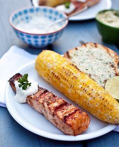 grilled salmon with creamy horseradish sauce