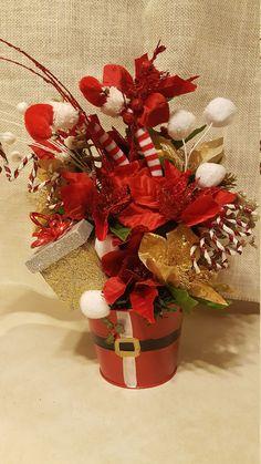 Christmas Floral Arrangement, Christmas Floral Centerpiece, Elf Floral Arrangement, by WEEDsByRose on Etsy
