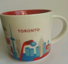 $40 - FREE SHIPPING Starbucks Toronto coffee mug cup 2013 You Are Here collection red blue white NEW