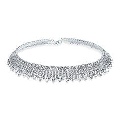 Bling Jewelry Art Deco Style Silver Plated Crystal Bridal Choker Necklace. Silver Plated Crystal Collar Choker. Crystal Bridal Choker Necklace. Adjustable. Measure: 15 inch L x 0.63 inch W. Weight: 34.2 Grams.