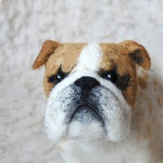 Custom Made Pet Sculpture: English Bulldog  needle felted by Willane