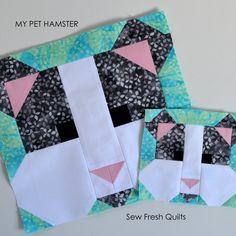 Hamster Quilt BLOCK Pattern PDF Instant Download modern