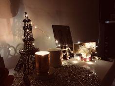 Fairy light dresser, Eiffel Tower, Candels💫