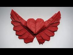 Origami Winged Heart tutorial (Henry Phạm) - How to make an origami heart – origami winged heart (Henry Phạm) - Gato Origami, Instruções Origami, Design Origami, Origami Modular, Origami Videos, Origami And Quilling, Origami And Kirigami, Origami Dragon, Origami Fish