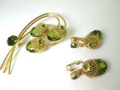 Sarah Coventry gold FILIGREE green rhinestones by vintagejewels4u, $65.00