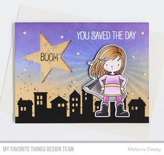 Stamps: You're Super Die-namics: You're Super, Our Town, Stitched Peek-a-Boo Star Window Stencil: Radiating Rays Kristina Pavlovic #mftstamps