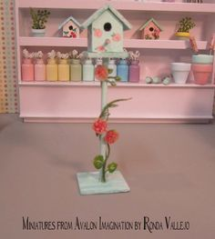 Miniature shabby chic bird house on stand in mint green with hand painted pink roses and climbing roses decor or miniature garden accessory