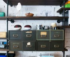 Pipe shelves AND old drawers...?! love it