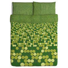 SMÖRBOLL Duvet cover and pillowcase(s) - green, Full/Queen (Double/Queen) - IKEA