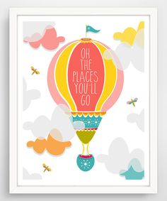 Look at this Finny and Zook Pink 'Oh, the Places You'll Go' Giclée Print on #zulily today!