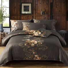 Embroidered Silk and Cotton Bedding Set Cotton Bedding Sets, Best Bedding Sets, Queen Bedding Sets, Bed Linen Sets, Cotton Sheets, Comforter Sets, Sheets Bedding, King Comforter, Queen Size Bed Sets