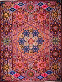 """Albert Small, Second Quilt, 1939 - 116"""" x 87"""", 63,460 hexagons each 3/8"""" across....OMG..such patience and fine work!  Amazing!!!"""
