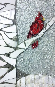 10 extra large Holiday Cards - PERCH ON A BIRCH - cardinal on birch tree from original mixed media mosaic art. $12.50, via Etsy.