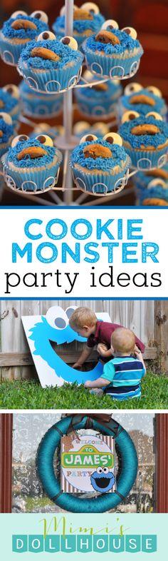 Sesame Street Party: James' Cookie Monster Birthday Bash. This Sesame Street party is jam full of cute, cute cookie monster and Sesame Street Party ideas. via @mimisdollhouse